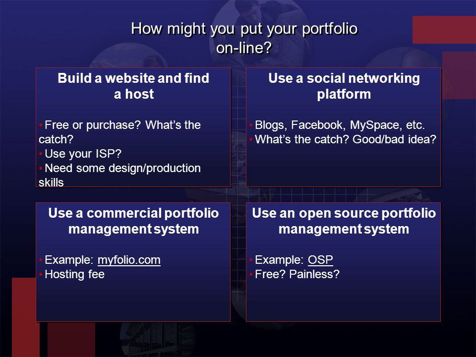 How might you put your portfolio on-line. Build a website and find a host Free or purchase.
