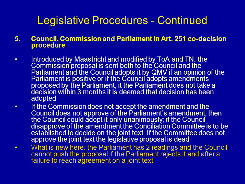 Legislative Procedures - Continued 5.Council, Commission and Parliament in Art. 251 co-decision procedure Introduced by Maastricht and modified by ToA