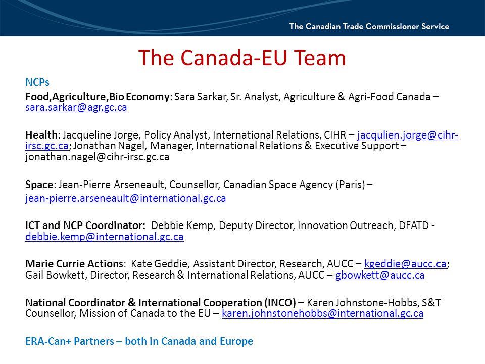 The Canada-EU Team NCPs Food,Agriculture,Bio Economy: Sara Sarkar, Sr.