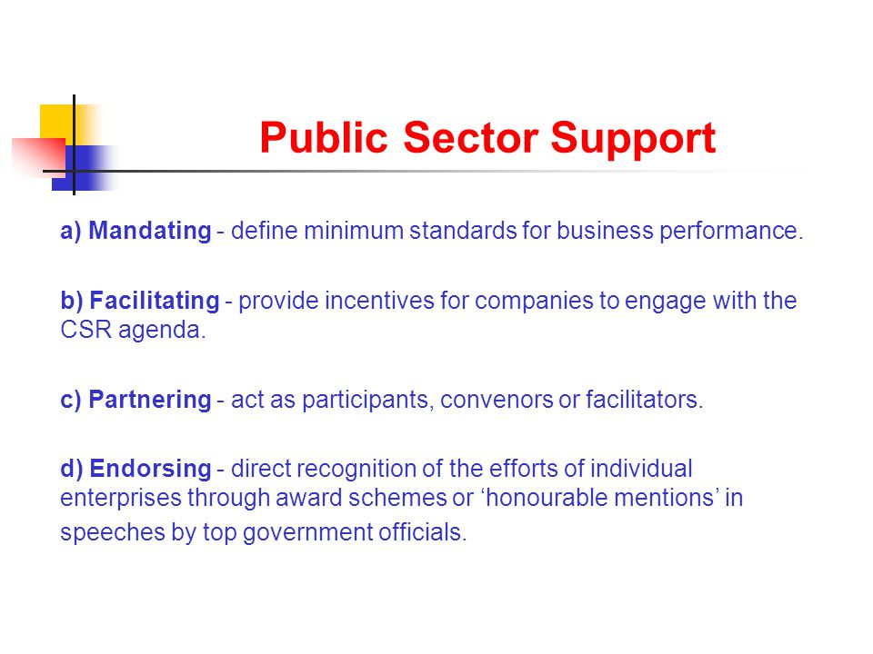 Public Sector Support a) Mandating - define minimum standards for business performance. b) Facilitating - provide incentives for companies to engage w