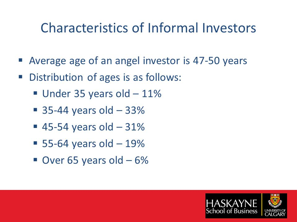 Characteristics of Informal Investors  Average age of an angel investor is 47-50 years  Distribution of ages is as follows:  Under 35 years old – 11%  35-44 years old – 33%  45-54 years old – 31%  55-64 years old – 19%  Over 65 years old – 6%