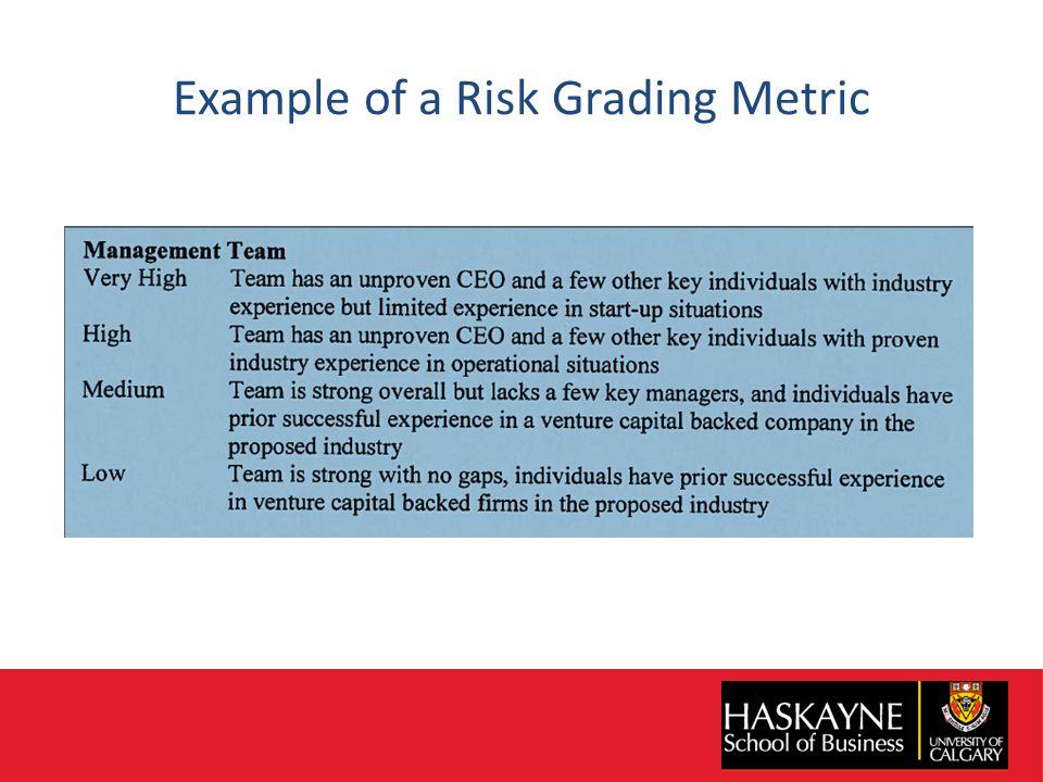 Example of a Risk Grading Metric