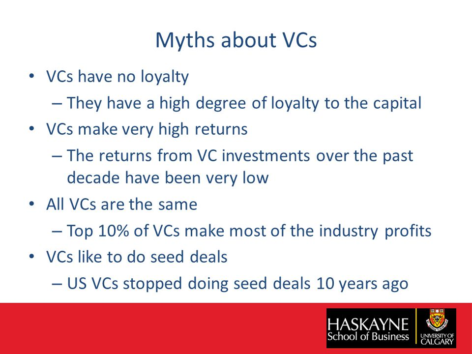 Myths about VCs VCs have no loyalty – They have a high degree of loyalty to the capital VCs make very high returns – The returns from VC investments over the past decade have been very low All VCs are the same – Top 10% of VCs make most of the industry profits VCs like to do seed deals – US VCs stopped doing seed deals 10 years ago