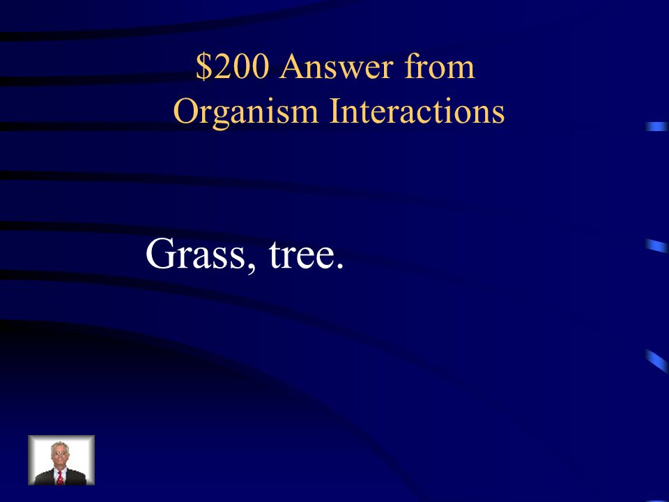 $200 Answer from Organism Interactions Grass, tree.