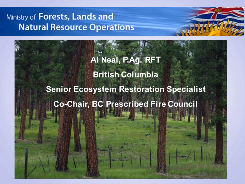 Al Neal, P.Ag. RFT British Columbia Senior Ecosystem Restoration Specialist Co-Chair, BC Prescribed Fire Council