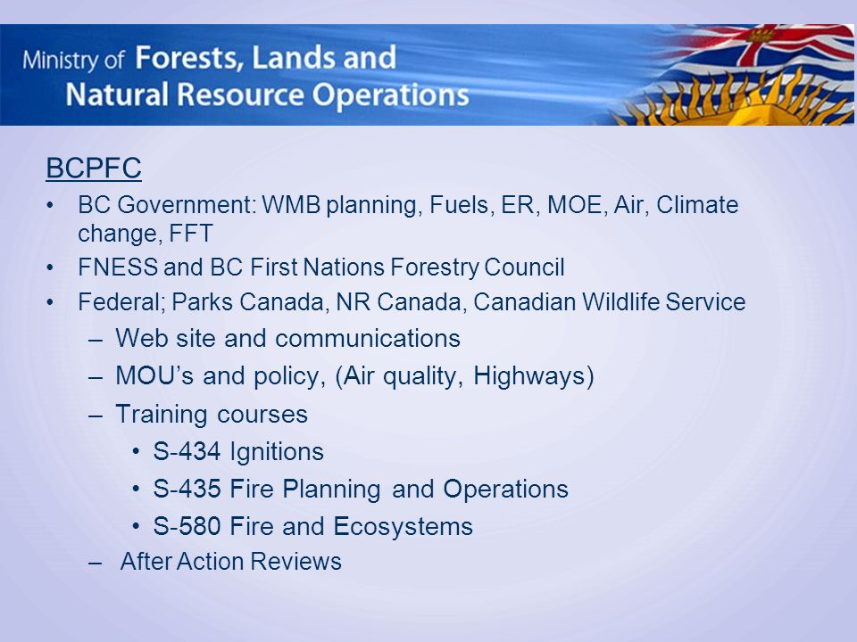BCPFC BC Government: WMB planning, Fuels, ER, MOE, Air, Climate change, FFT FNESS and BC First Nations Forestry Council Federal; Parks Canada, NR Canada, Canadian Wildlife Service –Web site and communications –MOU's and policy, (Air quality, Highways) –Training courses S-434 Ignitions S-435 Fire Planning and Operations S-580 Fire and Ecosystems –After Action Reviews