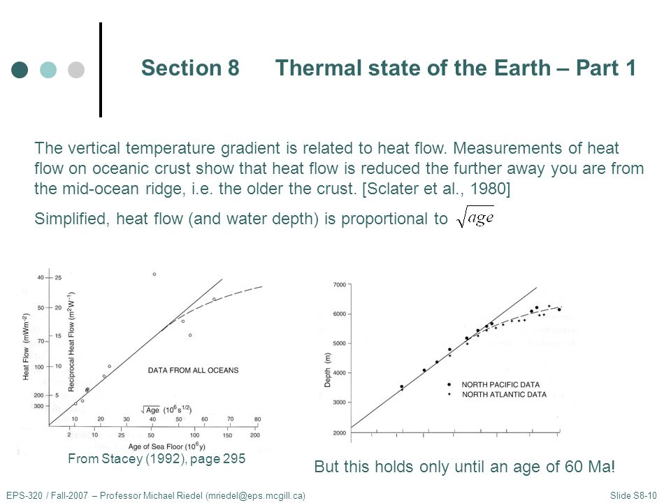 EPS-320 / Fall-2007 – Professor Michael Riedel (mriedel@eps.mcgill.ca) Slide S8-10 The vertical temperature gradient is related to heat flow.