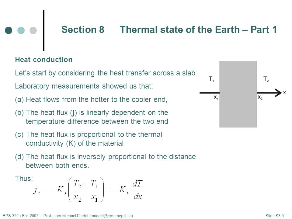 EPS-320 / Fall-2007 – Professor Michael Riedel (mriedel@eps.mcgill.ca) Slide S8-5 Heat conduction Let's start by considering the heat transfer across a slab.