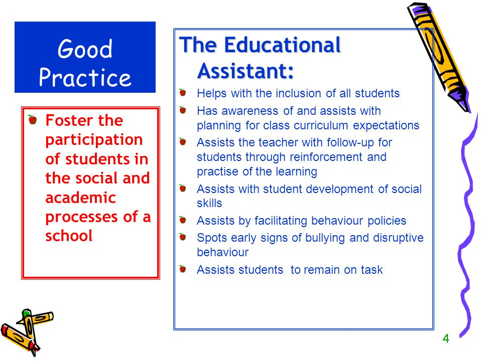 4 Good Practice The Educational Assistant: Helps with the inclusion of all students Has awareness of and assists with planning for class curriculum ex