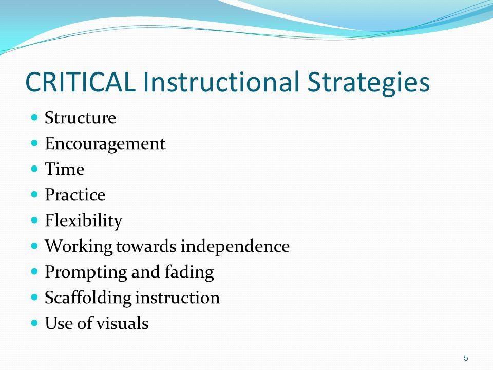 More Critical Strategies Adjust pacing/timing.Break down tasks.