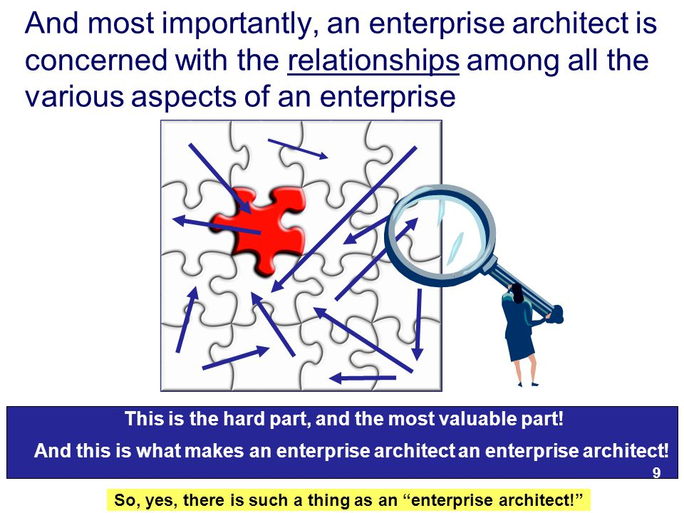 11 And most importantly, an enterprise architect is concerned with the relationships among all the various aspects of an enterprise This is the hard part, and the most valuable part.
