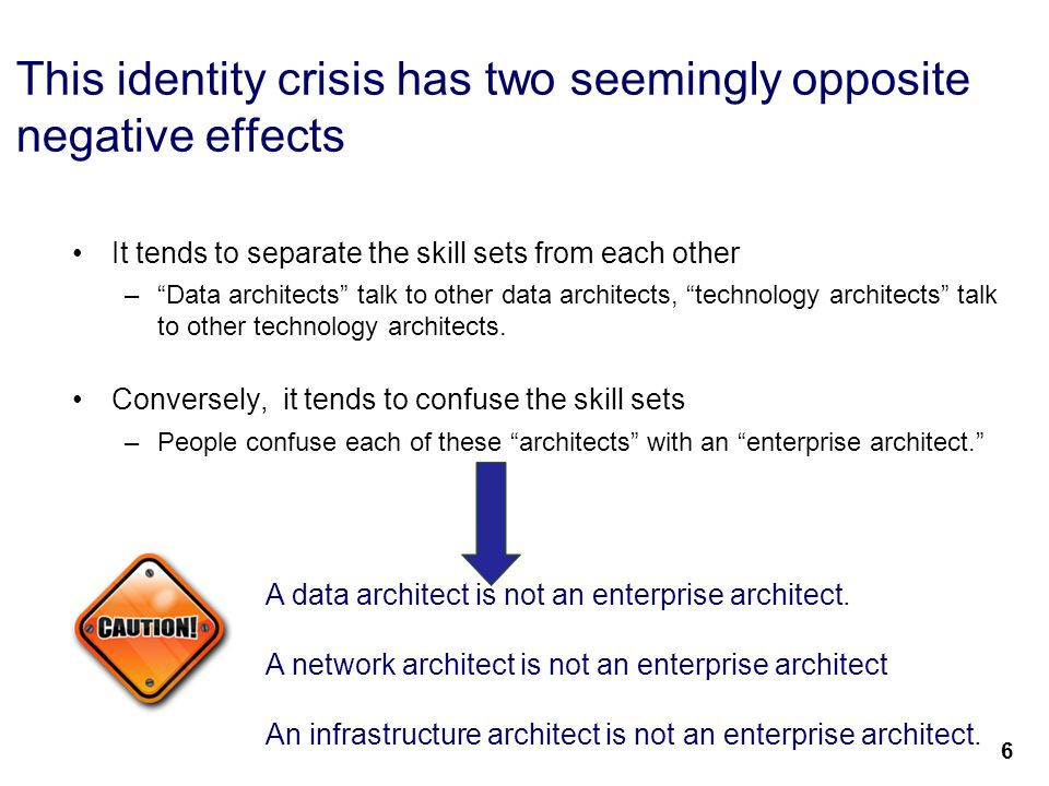 """8 This identity crisis has two seemingly opposite negative effects It tends to separate the skill sets from each other –""""Data architects"""" talk to othe"""