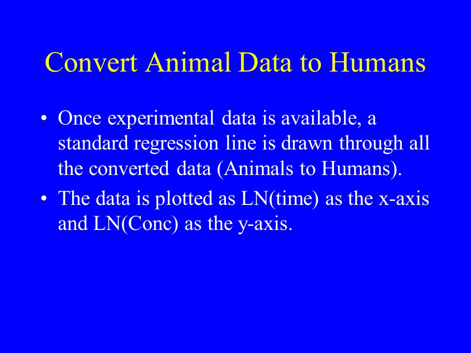 Convert Animal Data to Humans Once experimental data is available, a standard regression line is drawn through all the converted data (Animals to Humans).