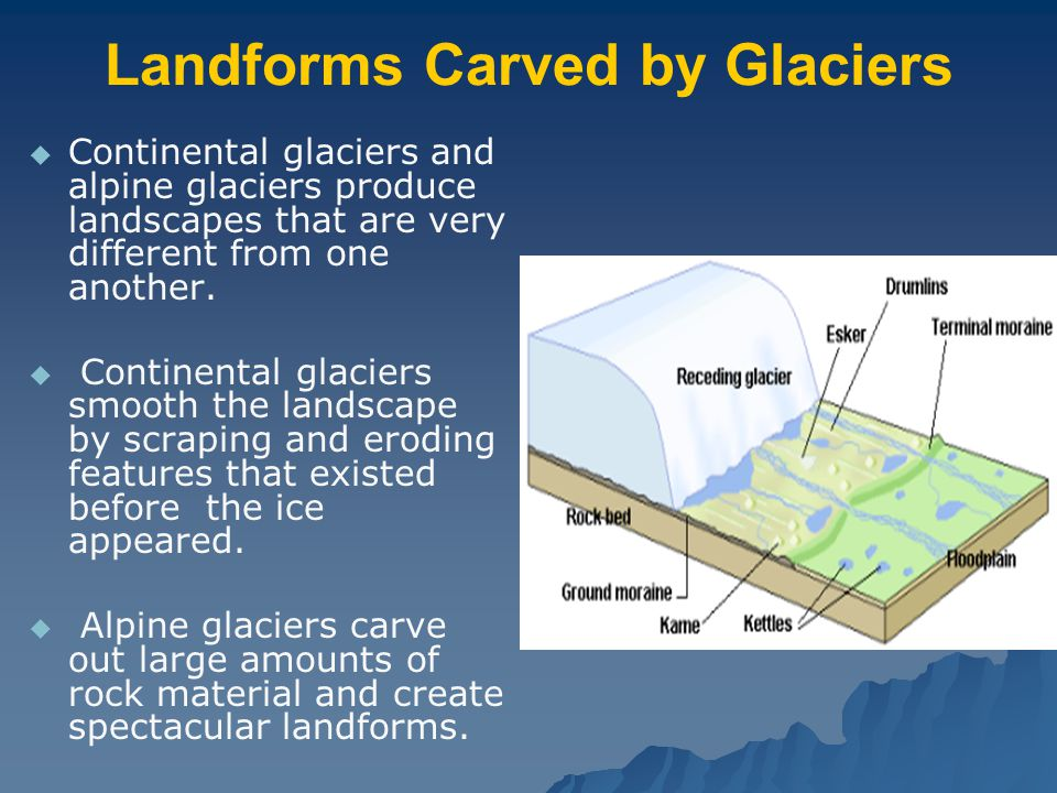 Landforms Carved by Glaciers   Continental glaciers and alpine glaciers produce landscapes that are very different from one another.   Continental