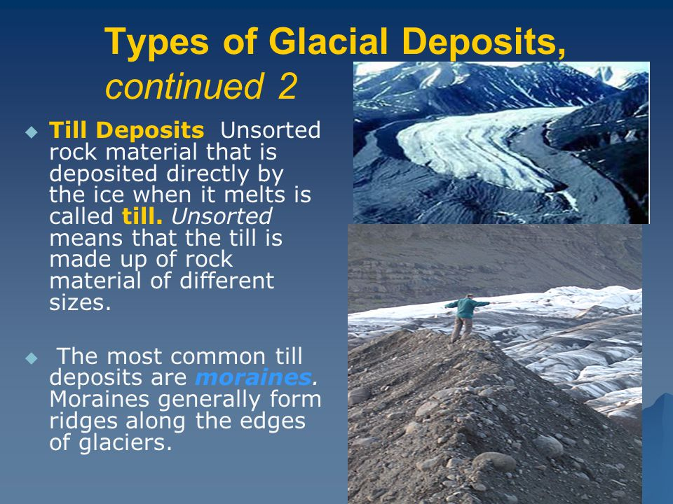 Types of Glacial Deposits, continued 2   Till Deposits Unsorted rock material that is deposited directly by the ice when it melts is called till. Un