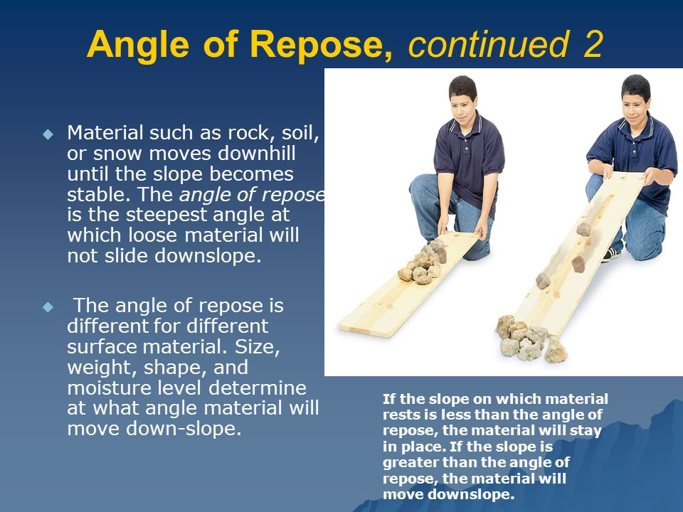 Angle of Repose, continued 2   Material such as rock, soil, or snow moves downhill until the slope becomes stable. The angle of repose is the steepe