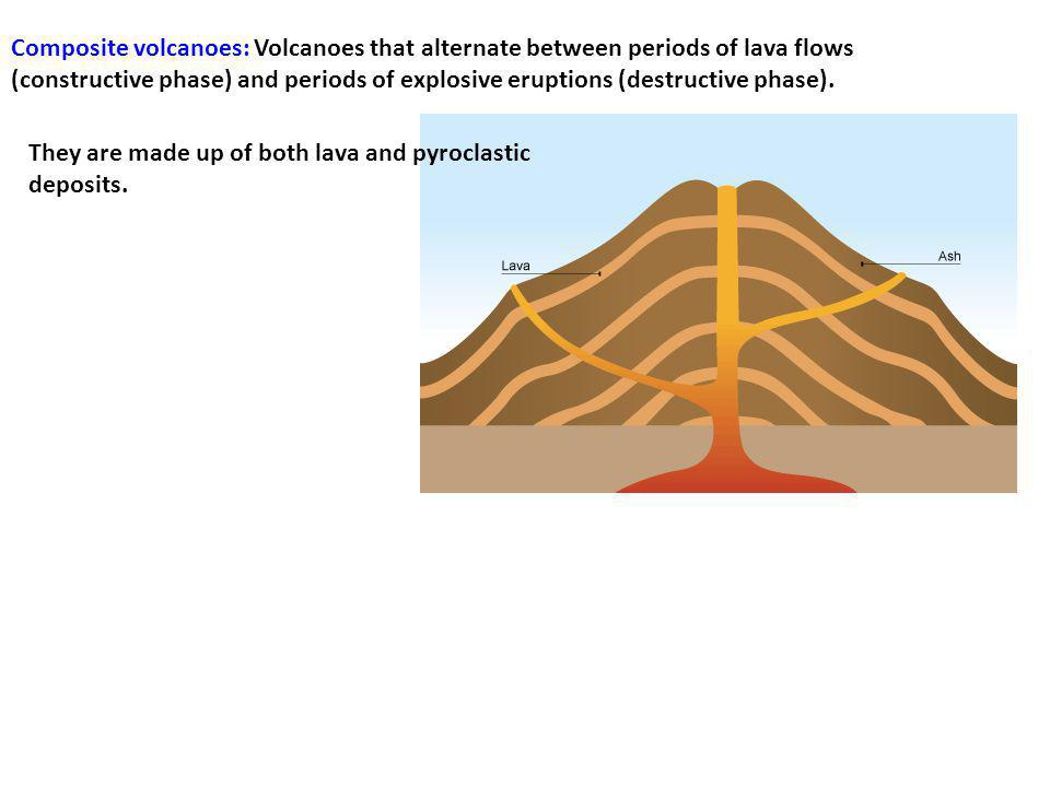 Composite volcanoes: Volcanoes that alternate between periods of lava flows (constructive phase) and periods of explosive eruptions (destructive phase