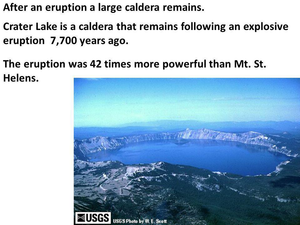 After an eruption a large caldera remains.