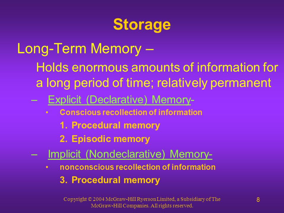 Copyright © 2004 McGraw-Hill Ryerson Limited, a Subsidiary of The McGraw-Hill Companies. All rights reserved. 8 Storage Long-Term Memory – Holds enorm