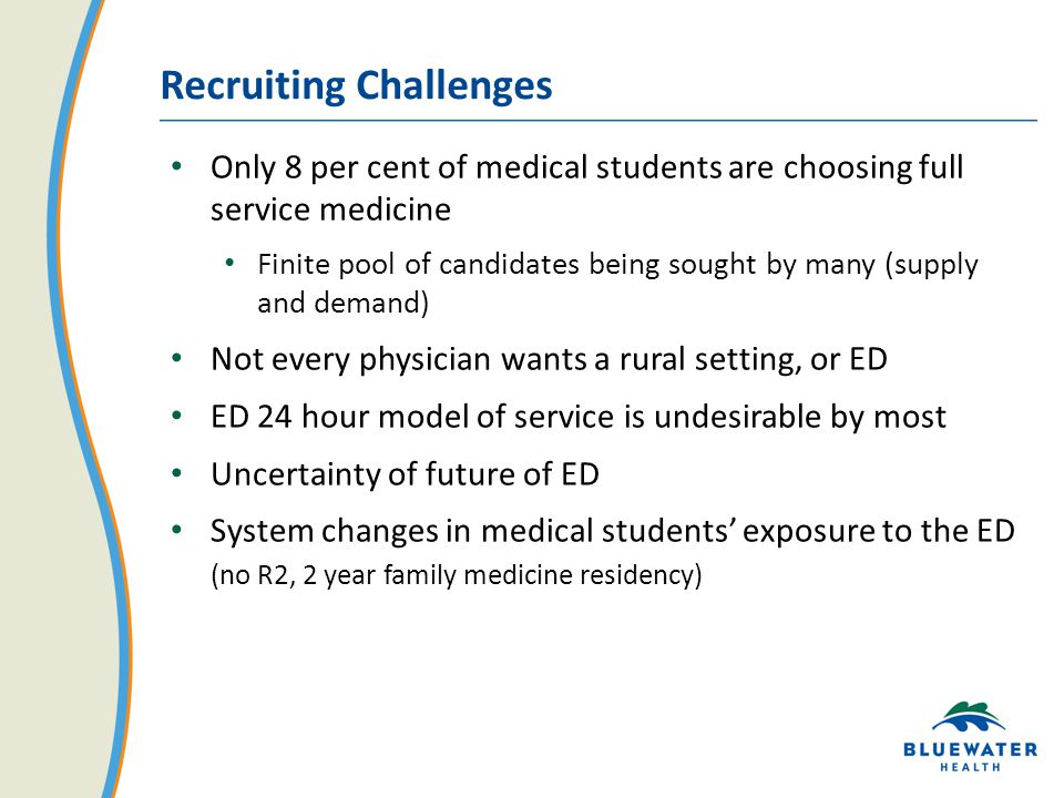 Recruiting Challenges Only 8 per cent of medical students are choosing full service medicine Finite pool of candidates being sought by many (supply and demand) Not every physician wants a rural setting, or ED ED 24 hour model of service is undesirable by most Uncertainty of future of ED System changes in medical students' exposure to the ED (no R2, 2 year family medicine residency)