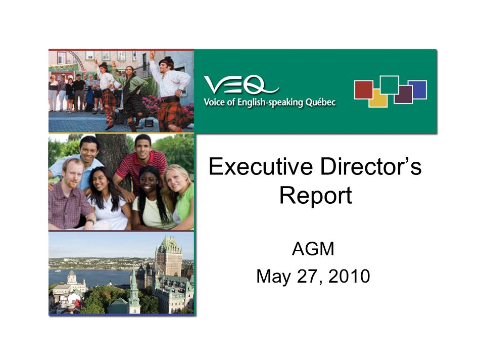 Executive Director's Report AGM May 27, 2010