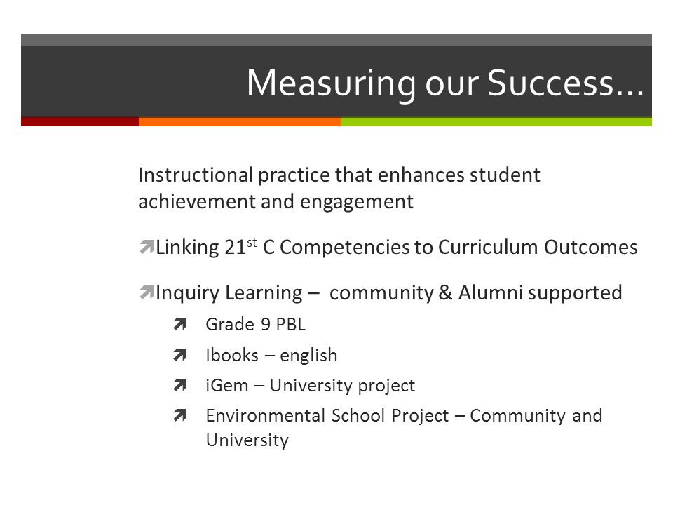 Measuring our Success…  Interdisciplinary projects  Science - Social  Science, Sports Med, Outdoor Ed  Science, Math, English  Math-English  Construction & Media