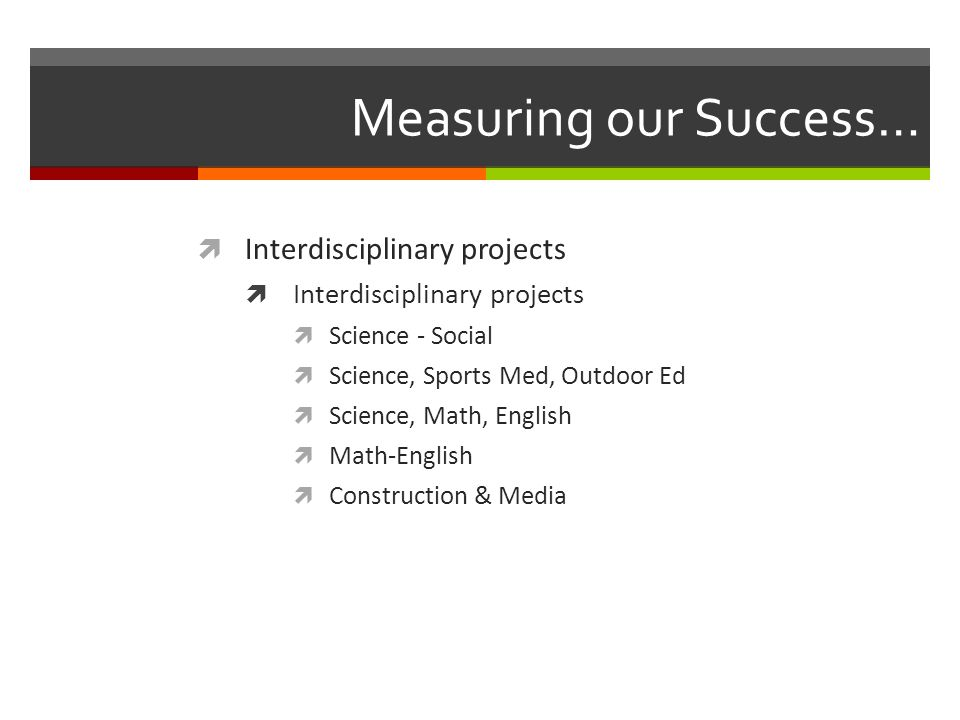 Measuring our Success…  Interdisciplinary projects  Science - Social  Science, Sports Med, Outdoor Ed  Science, Math, English  Math-English  Construction & Media