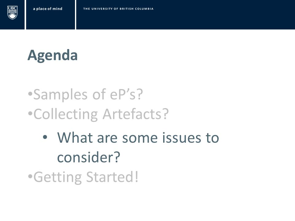 Agenda Samples of eP's Collecting Artefacts What are some issues to consider Getting Started!