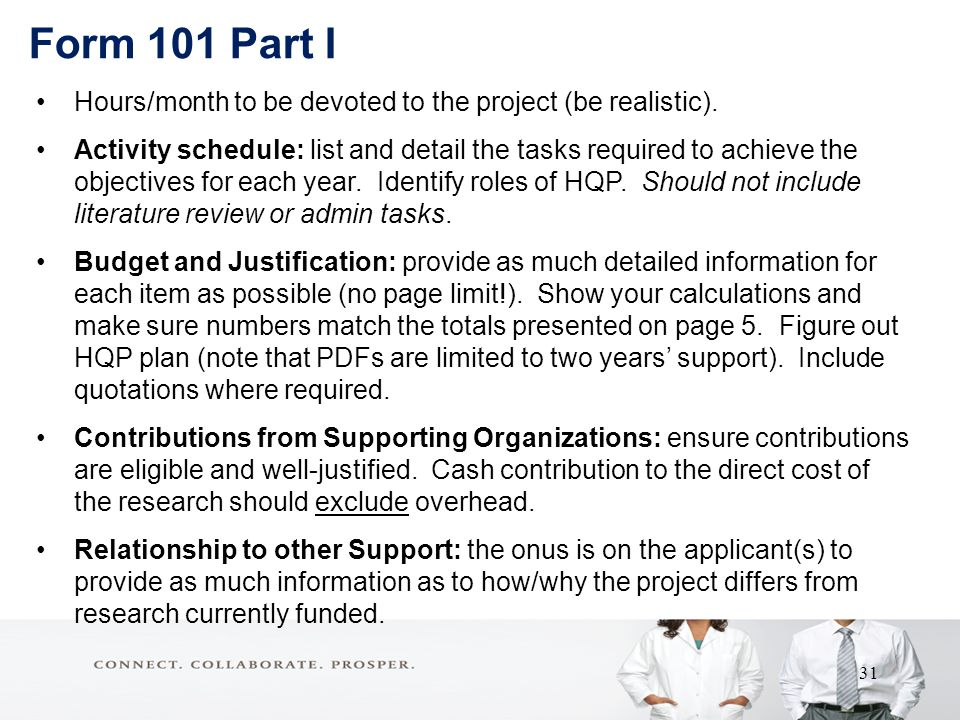 Form 101 Part I Hours/month to be devoted to the project (be realistic).