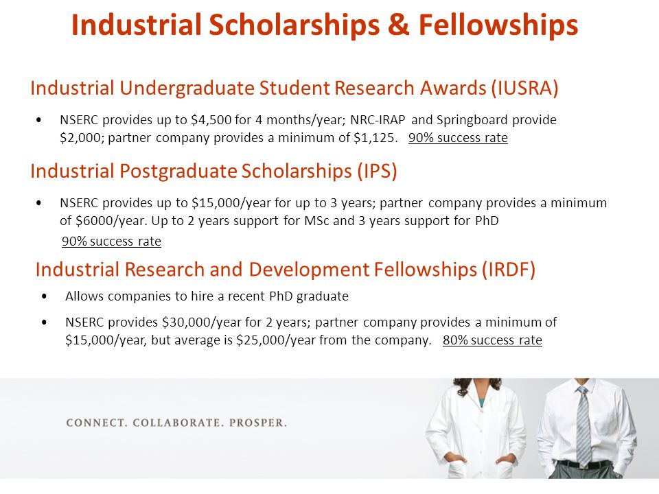 Industrial Scholarships & Fellowships NSERC provides up to $15,000/year for up to 3 years; partner company provides a minimum of $6000/year.