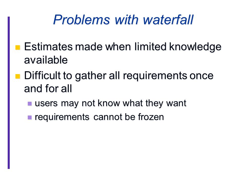 Problems with waterfall Estimates made when limited knowledge available Estimates made when limited knowledge available Difficult to gather all requirements once and for all Difficult to gather all requirements once and for all users may not know what they want users may not know what they want requirements cannot be frozen requirements cannot be frozen