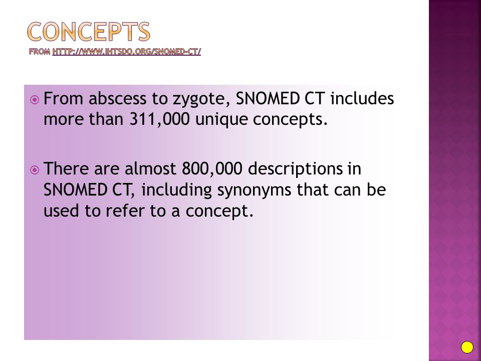  From abscess to zygote, SNOMED CT includes more than 311,000 unique concepts.