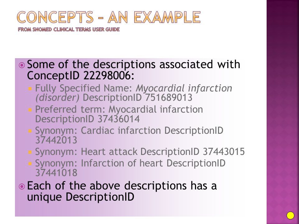  Some of the descriptions associated with ConceptID 22298006:  Fully Specified Name: Myocardial infarction (disorder) DescriptionID 751689013  Pref