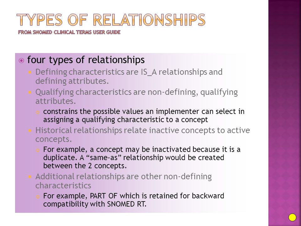  four types of relationships  Defining characteristics are IS_A relationships and defining attributes.  Qualifying characteristics are non-defining