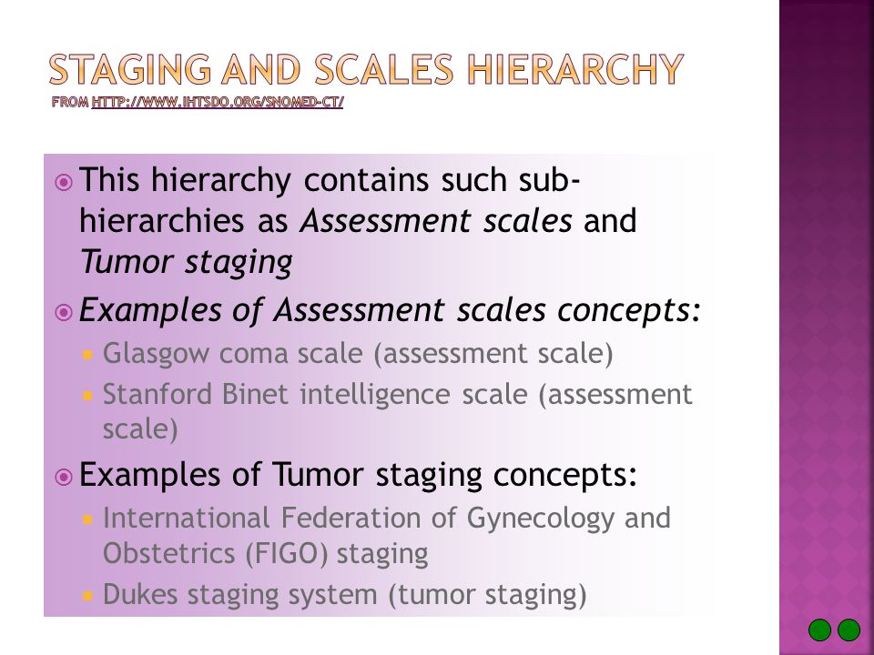  This hierarchy contains such sub- hierarchies as Assessment scales and Tumor staging  Examples of Assessment scales concepts:  Glasgow coma scale (assessment scale)  Stanford Binet intelligence scale (assessment scale)  Examples of Tumor staging concepts:  International Federation of Gynecology and Obstetrics (FIGO) staging  Dukes staging system (tumor staging)