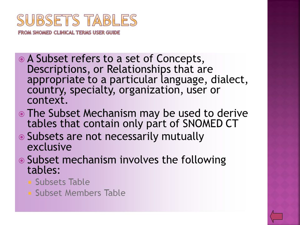  A Subset refers to a set of Concepts, Descriptions, or Relationships that are appropriate to a particular language, dialect, country, specialty, organization, user or context.