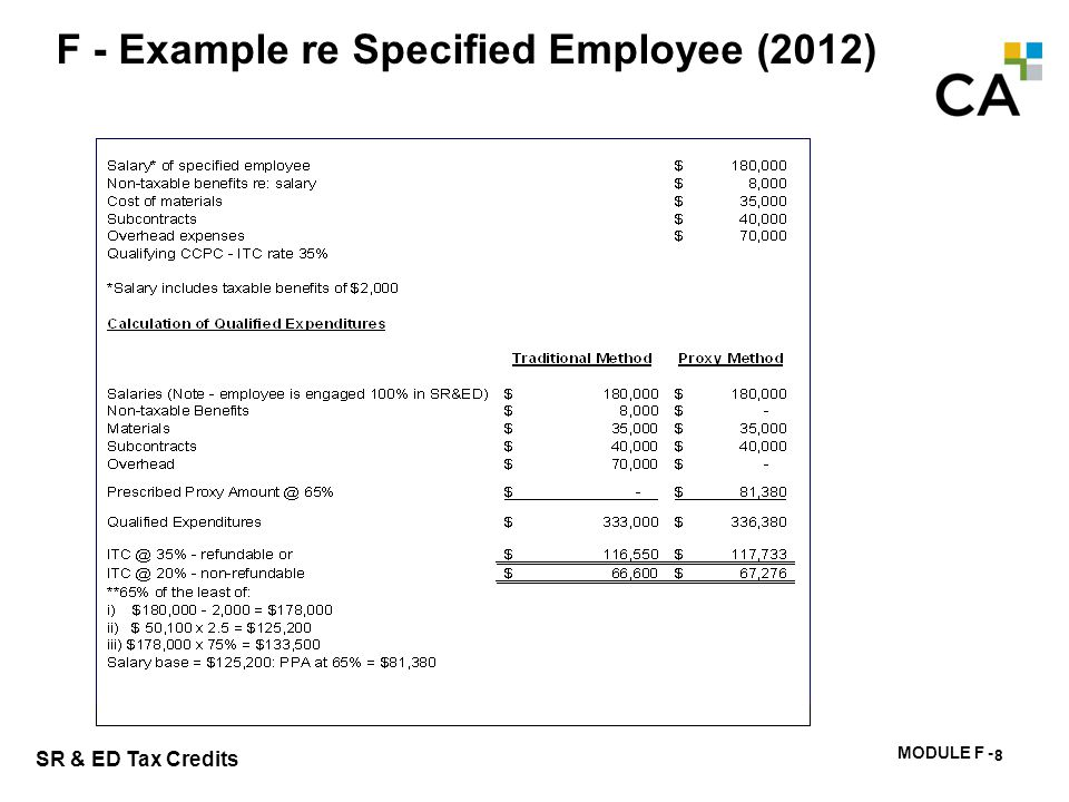 MODULE F - 171 SR & ED Tax Credits F - Example re Specified Employee (2012) 8