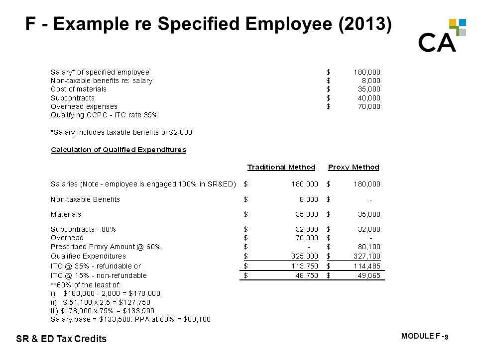 MODULE F - 172 SR & ED Tax Credits F - Example re Specified Employee (2013) 9