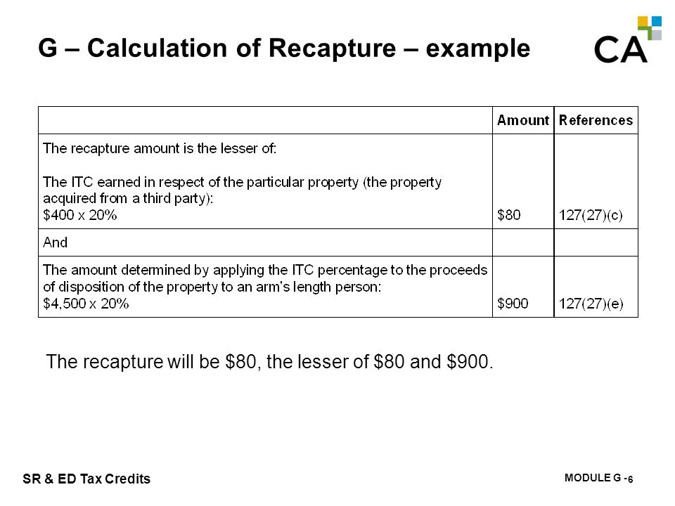 MODULE G - 191 SR & ED Tax Credits G – Calculation of Recapture – example 6 The recapture will be $80, the lesser of $80 and $900.