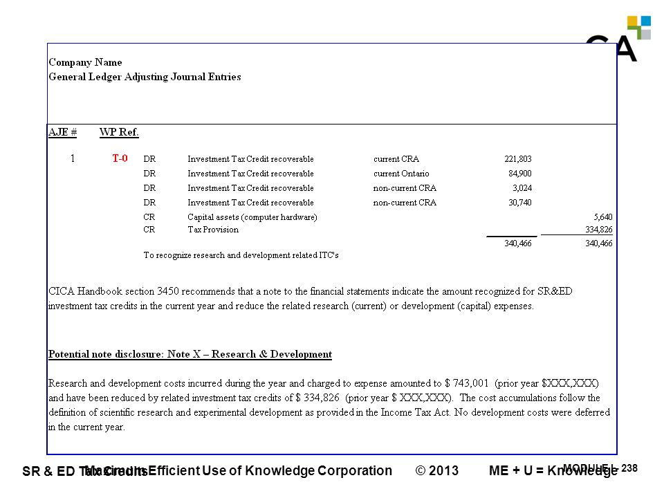 MODULE I - 238 SR & ED Tax Credits Maximum Efficient Use of Knowledge Corporation © 2013 ME + U = Knowledge
