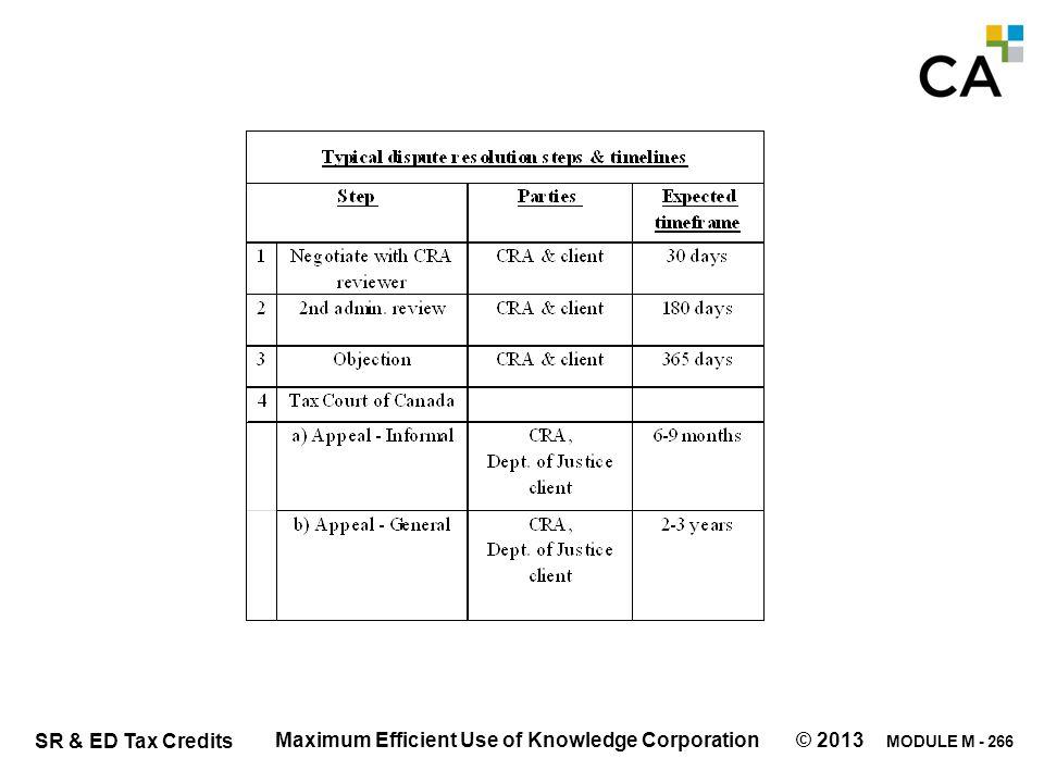 MODULE M - 266 SR & ED Tax Credits Maximum Efficient Use of Knowledge Corporation © 2013