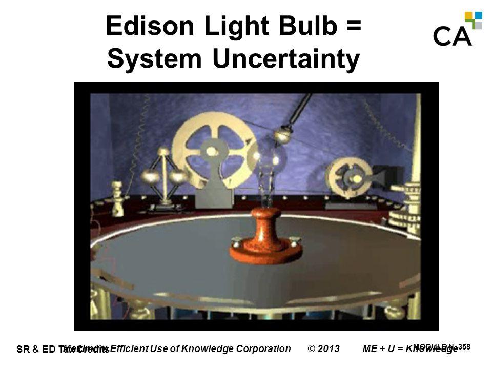 SR & ED Tax Credits MODULE N -358 Maximum Efficient Use of Knowledge Corporation © 2013 ME + U = Knowledge Edison Light Bulb = System Uncertainty