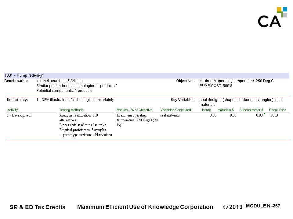 SR & ED Tax Credits MODULE N -367 Maximum Efficient Use of Knowledge Corporation © 2013