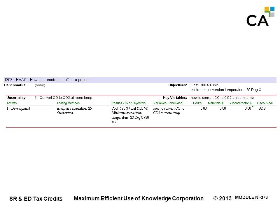 SR & ED Tax Credits MODULE N -373 Maximum Efficient Use of Knowledge Corporation © 2013