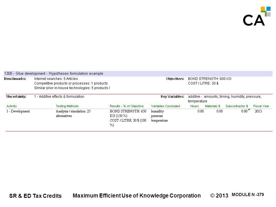 SR & ED Tax Credits MODULE N -379 Maximum Efficient Use of Knowledge Corporation © 2013