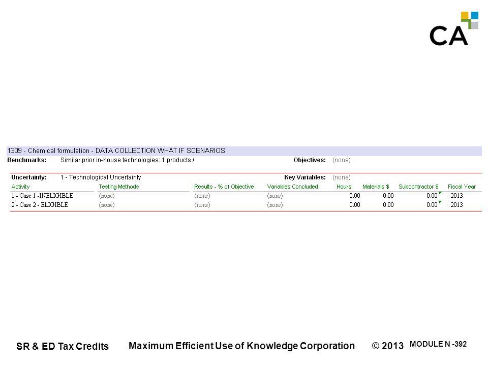 SR & ED Tax Credits MODULE N -392 Maximum Efficient Use of Knowledge Corporation © 2013