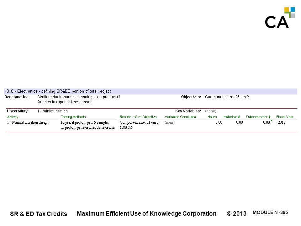 SR & ED Tax Credits MODULE N -395 Maximum Efficient Use of Knowledge Corporation © 2013