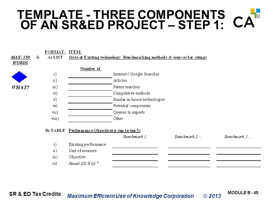 MODULE B - 45 SR & ED Tax Credits Maximum Efficient Use of Knowledge Corporation © 2013 TEMPLATE - THREE COMPONENTS OF AN SR&ED PROJECT – STEP 1: