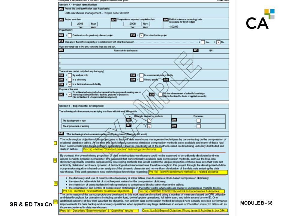 MODULE B - 68 SR & ED Tax Credits
