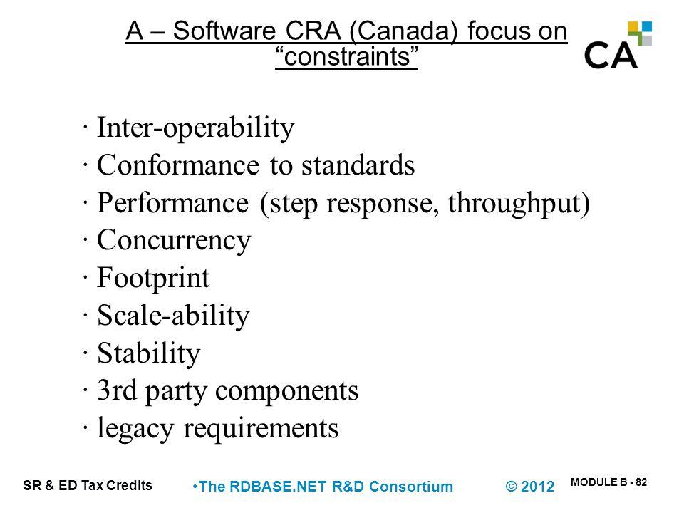 "MODULE B - 82 SR & ED Tax Credits The RDBASE.NET R&D Consortium © 2012 A – Software CRA (Canada) focus on ""constraints"" · Inter-operability · Conforma"